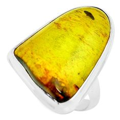 14.41cts natural green amber from colombia silver solitaire ring size 8 p68391
