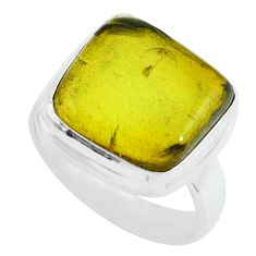 7.82cts natural green amber from colombia silver solitaire ring size 7 p68398
