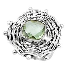5.99cts natural green amethyst 925 silver solitaire ring jewelry size 8.5 p60912