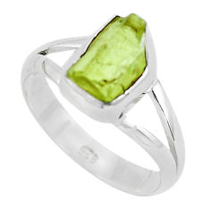3.87cts natural green apatite rough 925 silver solitaire ring size 8 p50361