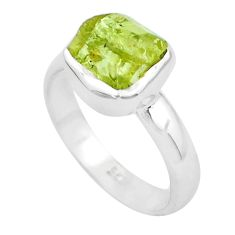 3.50cts natural green apatite rough 925 silver solitaire ring size 6.5 p50365