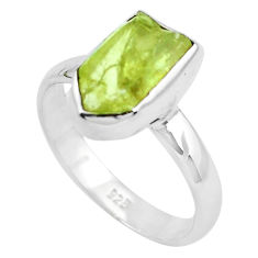 4.69cts natural green apatite rough 925 silver solitaire ring size 9 p50366