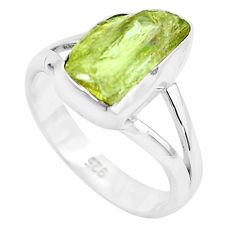 4.08cts natural green apatite rough 925 silver solitaire ring size 6.5 p50367