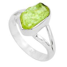 4.06cts natural green apatite rough 925 silver solitaire ring size 8 p50370