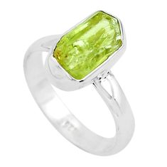 4.22cts natural green apatite rough 925 silver solitaire ring size 7.5 p50375