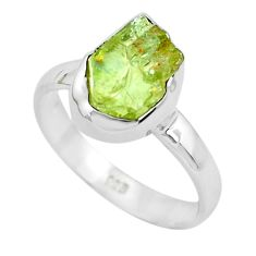 4.69cts natural green apatite rough 925 silver solitaire ring size 8.5 p50376