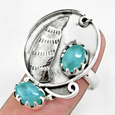 4.13cts natural green aquamarine 925 silver ring jewelry size 6.5 p42382