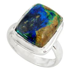 7.12cts natural green azurite malachite 925 silver solitaire ring size 7 p79313