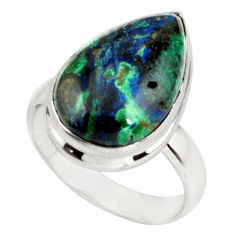 12.52cts natural green azurite malachite 925 silver solitaire ring size 7 p79318
