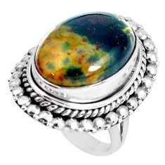 10.33cts natural green bloodstone african silver solitaire ring size 5.5 d31287