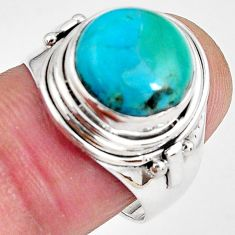 6.03cts natural green campitos turquoise 925 silver solitaire ring size 8 p89842