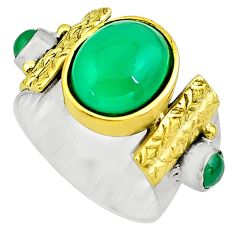 6.62cts natural green chalcedony 925 silver gold solitaire ring size 7.5 p81121