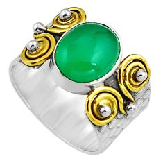 4.59cts natural green chalcedony 925 silver gold solitaire ring size 8.5 p91166