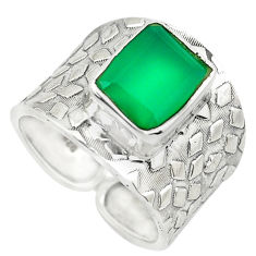 4.47cts natural green chalcedony 925 silver solitaire ring jewelry size 7 p51001