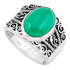 7.02cts natural green chalcedony 925 silver solitaire ring jewelry size 8 p55910