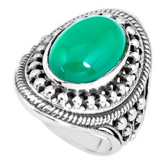 6.92cts natural green chalcedony 925 silver solitaire ring jewelry size 8 p61153