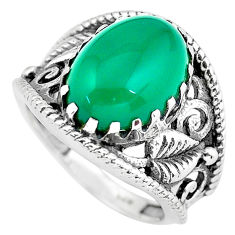 6.53cts natural green chalcedony 925 silver solitaire ring jewelry size 8 p61175
