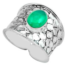 3.41cts natural green chalcedony 925 silver solitaire ring jewelry size 9 p68469