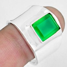 4.07cts natural green chalcedony 925 silver solitaire ring size 8.5 p51021