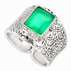 4.02cts natural green chalcedony 925 silver solitaire ring size 7.5 p51042