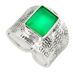 4.47cts natural green chalcedony 925 silver solitaire ring size 7.5 p51083
