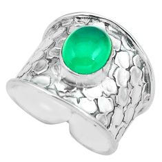 3.16cts natural green chalcedony 925 silver solitaire ring size 7.5 p68461