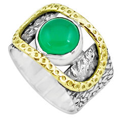 4.56cts natural green chalcedony 925 silver solitaire ring size 7.5 p77129