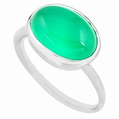 7.04cts natural green chalcedony 925 silver solitaire ring size 9.5 p77225
