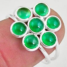 4.61cts natural green chalcedony 925 sterling silver ring jewelry size 7 p89861