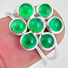 5.08cts natural green chalcedony 925 sterling silver ring jewelry size 7 p89862