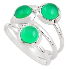 3.41cts natural green chalcedony 925 sterling silver ring size 8.5 p85801