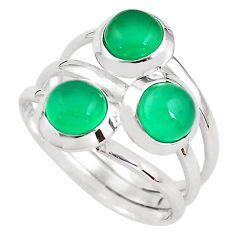 3.38cts natural green chalcedony 925 sterling silver ring size 8.5 p85802