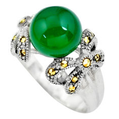 6.32cts natural green chalcedony fine marcasite 925 silver ring size 8.5 c2754