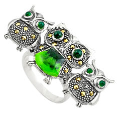 1.89cts natural green chalcedony marcasite 925 silver owl ring size 9 c4067