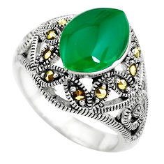 4.21cts natural green chalcedony marcasite 925 sterling silver ring size 6 c2752