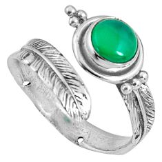2.41cts natural green chalcedony silver adjustable feather ring size 8 p90102