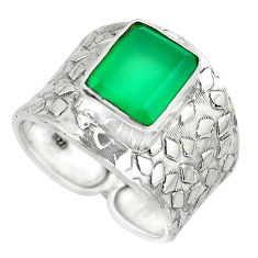 4.21cts natural green chalcedony sterling silver solitaire ring size 8.5 p51002