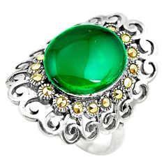 8.70cts natural green chalcedony swiss marcasite 925 silver ring size 10 c2753