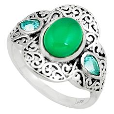 5.16cts natural green chalcedony topaz 925 silver solitaire ring size 9 p79153