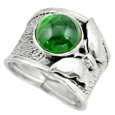 Clearance Sale- 6.02cts natural green chrome diopside 925 silver solitaire ring size 7.5 d32176