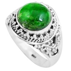 Clearance Sale- 5.75cts natural green chrome diopside 925 silver solitaire ring size 8 d32196