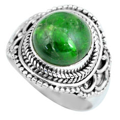 Clearance Sale- 5.71cts natural green chrome diopside 925 silver solitaire ring size 7 d32207