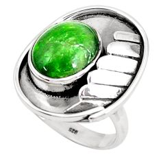 5.62cts natural green chrome diopside 925 silver solitaire ring size 9 p49616