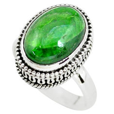 7.02cts natural green chrome diopside 925 silver solitaire ring size 7.5 p56481