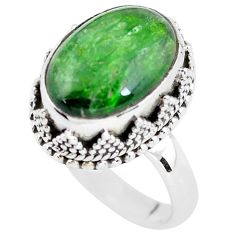 6.53cts natural green chrome diopside 925 silver solitaire ring size 7 p56491