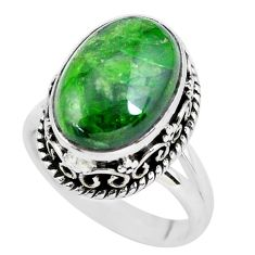 6.32cts natural green chrome diopside 925 silver solitaire ring size 6.5 p56492