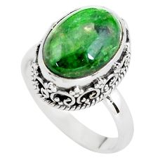 6.54cts natural green chrome diopside 925 silver solitaire ring size 8 p56751
