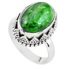 6.75cts natural green chrome diopside 925 silver solitaire ring size 7.5 p56752