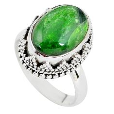 7.02cts natural green chrome diopside 925 silver solitaire ring size 7.5 p56753