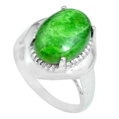 6.02cts natural green chrome diopside 925 silver solitaire ring size 7 p69961
